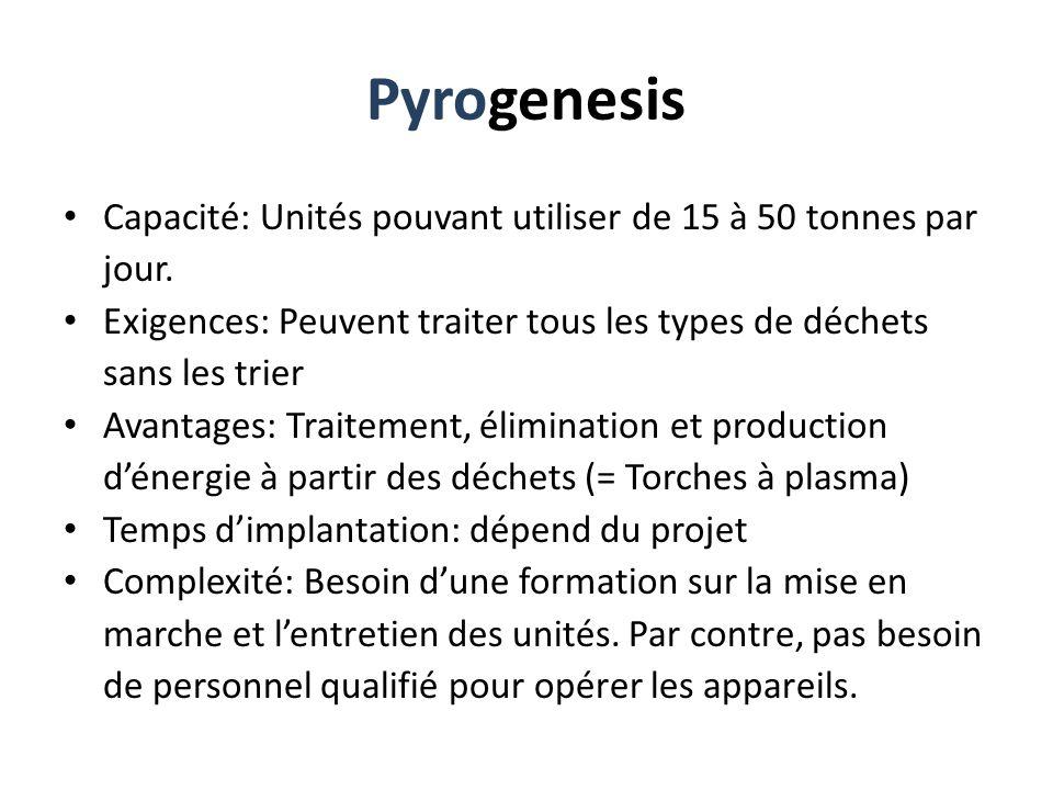 Pyrogenesis Capacité: Unités pouvant utiliser de 15 à 50 tonnes par jour. Exigences: Peuvent traiter tous les types de déchets sans les trier Avantage