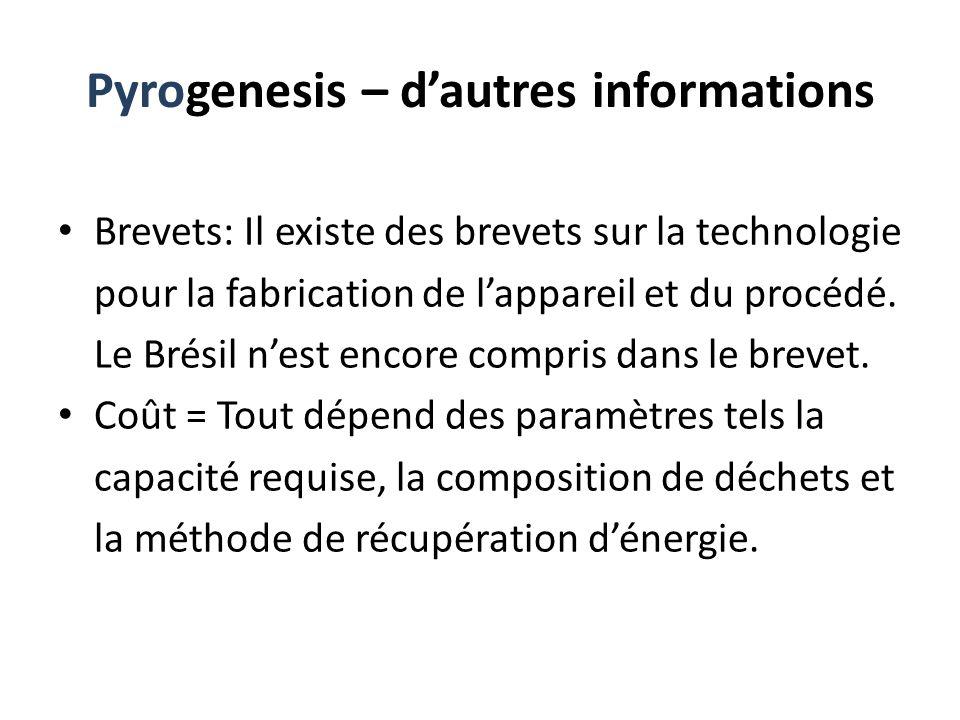 Pyrogenesis – dautres informations Brevets: Il existe des brevets sur la technologie pour la fabrication de lappareil et du procédé. Le Brésil nest en