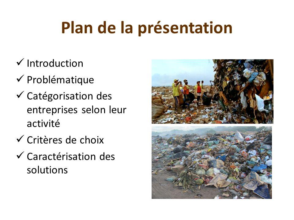 Plan de la présentation Introduction Problématique Catégorisation des entreprises selon leur activité Critères de choix Caractérisation des solutions