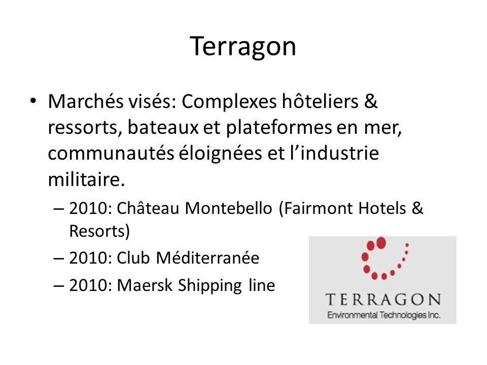 Terragon Marchés visés: Complexes hôteliers & ressorts, bateaux et plateformes en mer, communautés éloignées et lindustrie militaire. – 2010: Château
