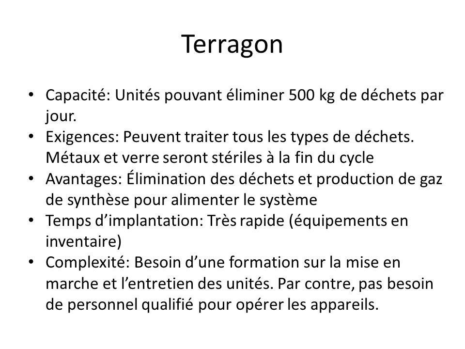 Terragon Capacité: Unités pouvant éliminer 500 kg de déchets par jour. Exigences: Peuvent traiter tous les types de déchets. Métaux et verre seront st