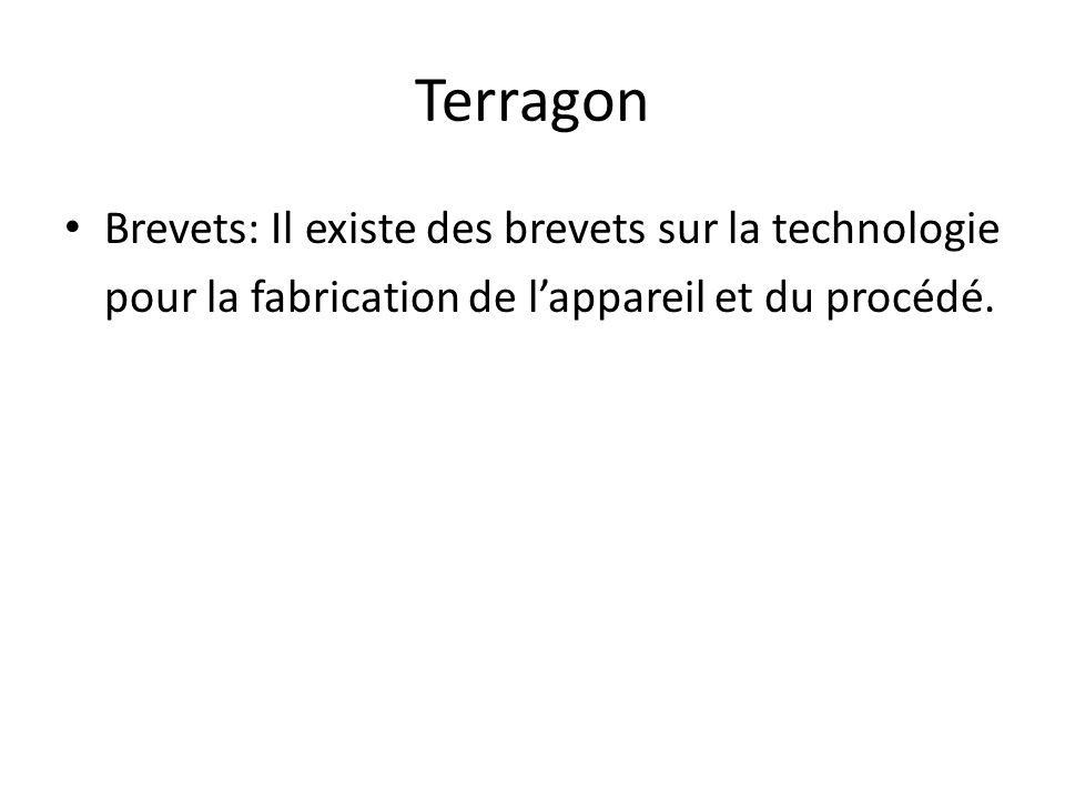 Terragon Brevets: Il existe des brevets sur la technologie pour la fabrication de lappareil et du procédé.