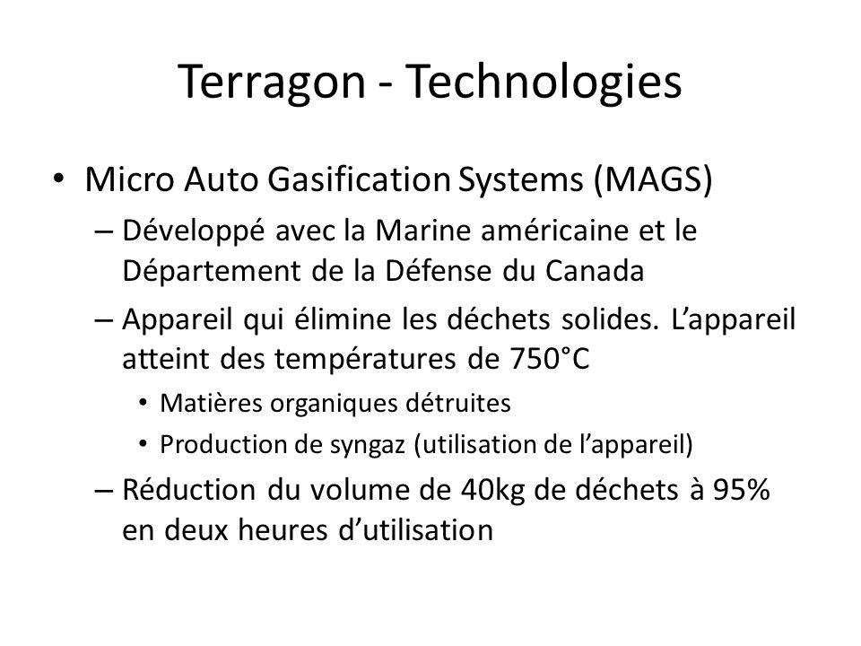 Terragon - Technologies Micro Auto Gasification Systems (MAGS) – Développé avec la Marine américaine et le Département de la Défense du Canada – Appar