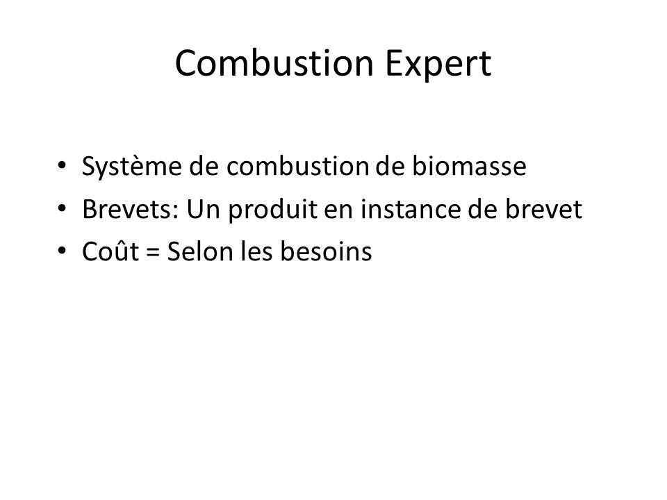 Combustion Expert Système de combustion de biomasse Brevets: Un produit en instance de brevet Coût = Selon les besoins