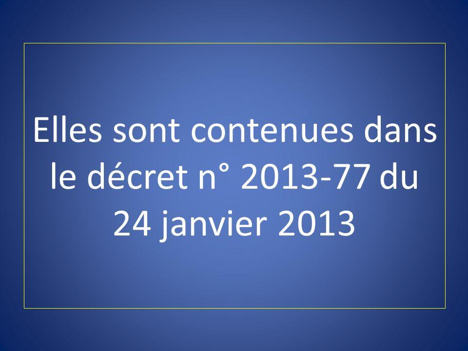 Elles sont contenues dans le décret n° 2013-77 du 24 janvier 2013