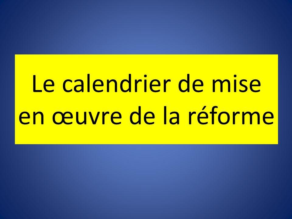 Le calendrier de mise en œuvre de la réforme