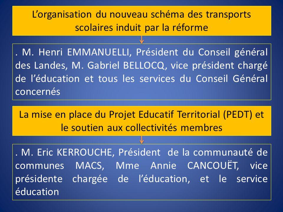 . M. Henri EMMANUELLI, Président du Conseil général des Landes, M. Gabriel BELLOCQ, vice président chargé de léducation et tous les services du Consei