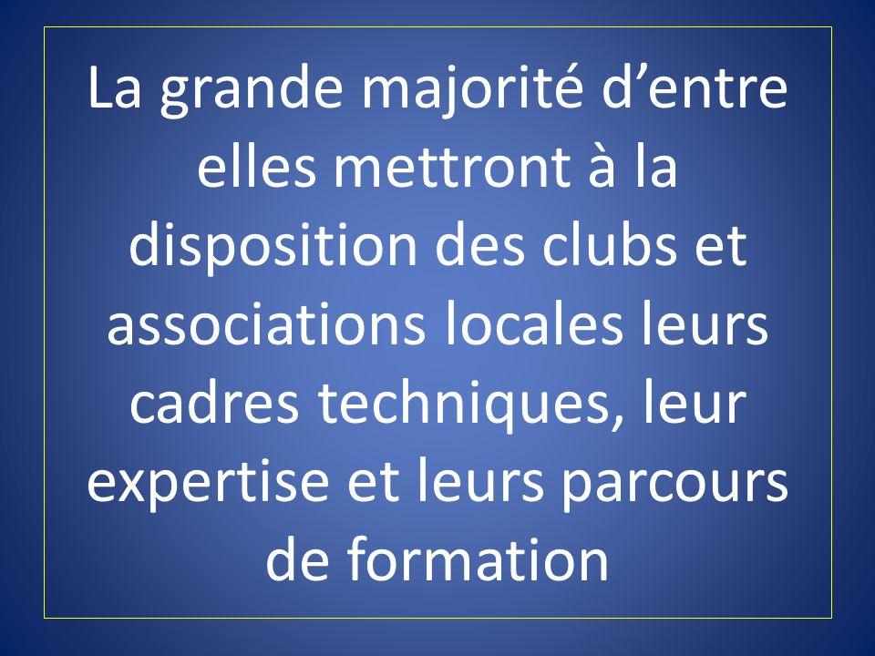 La grande majorité dentre elles mettront à la disposition des clubs et associations locales leurs cadres techniques, leur expertise et leurs parcours