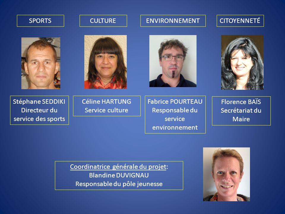 Stéphane SEDDIKI Directeur du service des sports Céline HARTUNG Service culture Fabrice POURTEAU Responsable du service environnement Coordinatrice gé