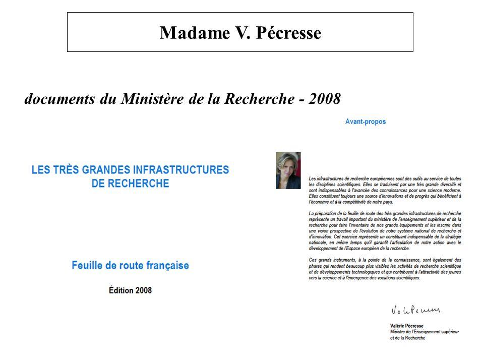 Madame V. Pécresse documents du Ministère de la Recherche - 2008