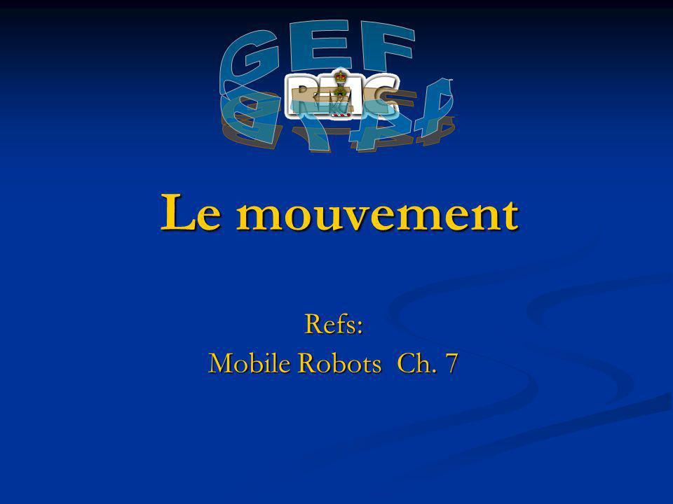 Le mouvement Refs: Mobile Robots Ch. 7