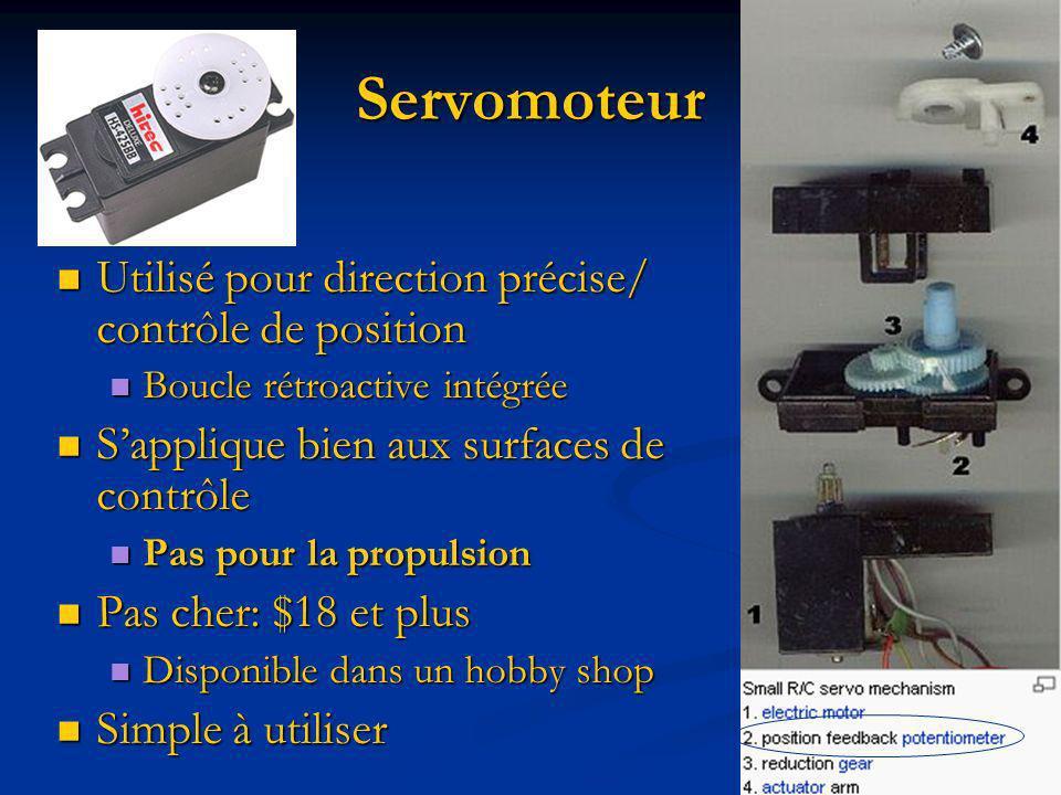 Servomoteur Utilisé pour direction précise/ contrôle de position Utilisé pour direction précise/ contrôle de position Boucle rétroactive intégrée Bouc
