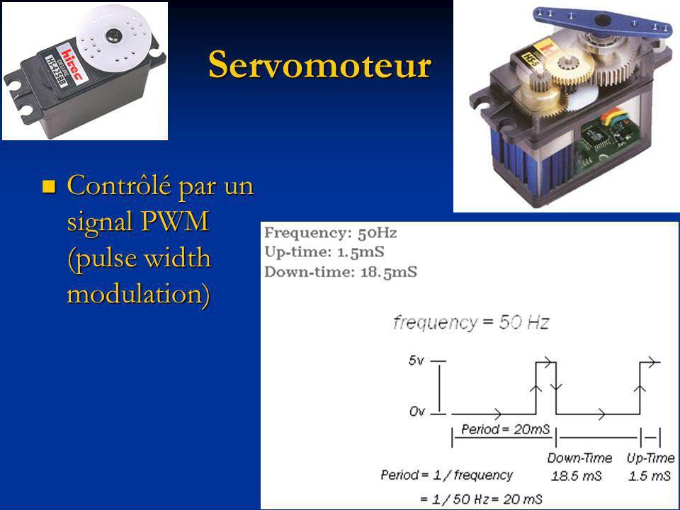 Servomoteur Contrôlé par un signal PWM (pulse width modulation) Contrôlé par un signal PWM (pulse width modulation)