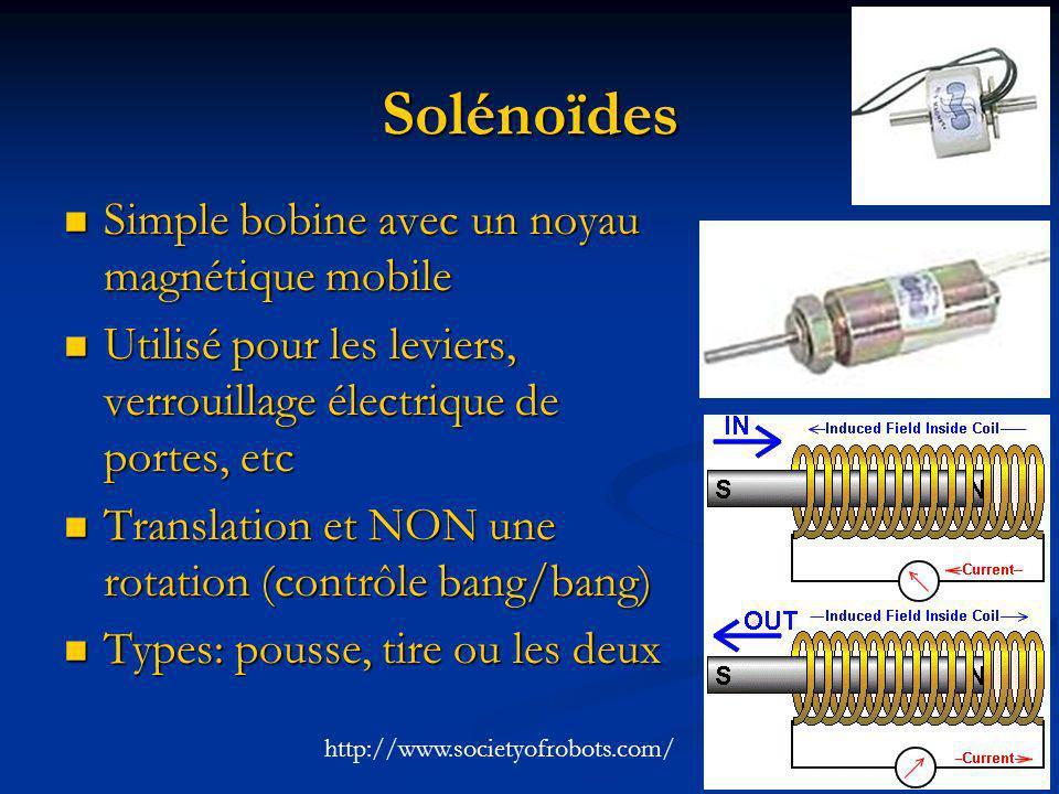 Solénoïdes Simple bobine avec un noyau magnétique mobile Simple bobine avec un noyau magnétique mobile Utilisé pour les leviers, verrouillage électriq