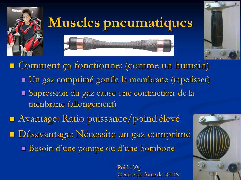 Muscles pneumatiques Comment ça fonctionne: (comme un humain) Comment ça fonctionne: (comme un humain) Un gaz comprimé gonfle la membrane (rapetisser)