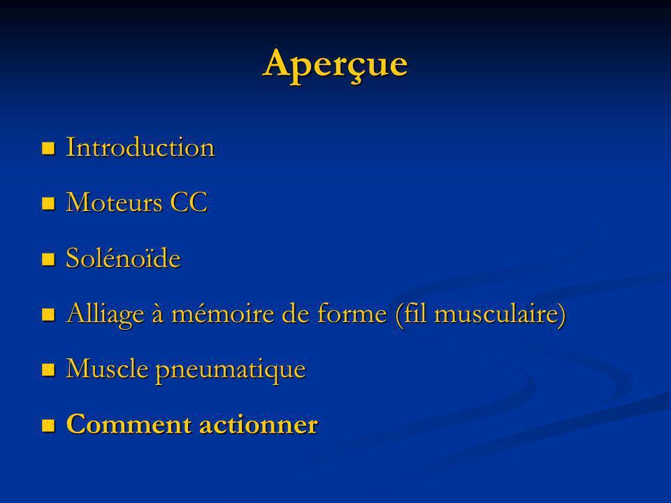 Aperçue Introduction Introduction Moteurs CC Moteurs CC Solénoïde Solénoïde Alliage à mémoire de forme (fil musculaire) Alliage à mémoire de forme (fi