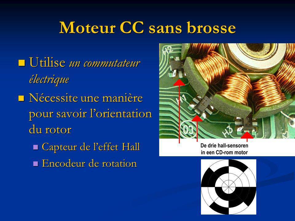 Moteur CC sans brosse Utilise un commutateur électrique Utilise un commutateur électrique Nécessite une manière pour savoir lorientation du rotor Néce