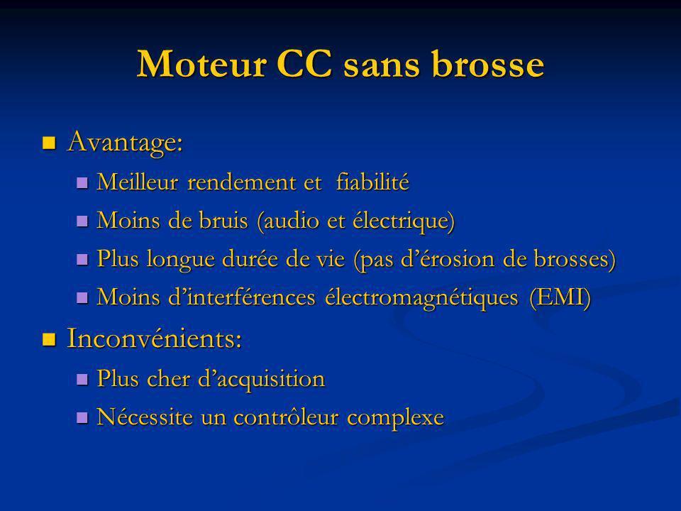 Moteur CC sans brosse Avantage: Avantage: Meilleur rendement et fiabilité Meilleur rendement et fiabilité Moins de bruis (audio et électrique) Moins d