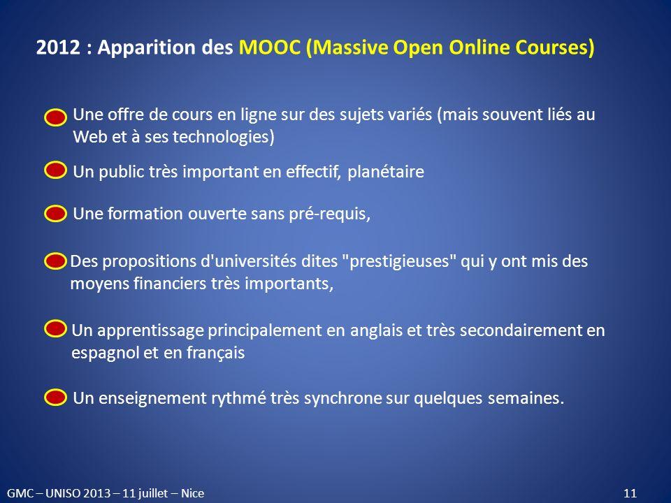 2012 : Apparition des MOOC (Massive Open Online Courses) Une offre de cours en ligne sur des sujets variés (mais souvent liés au Web et à ses technolo