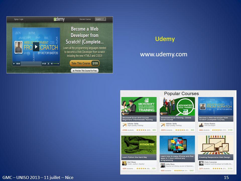 GMC – UNISO 2013 – 11 juillet – Nice 15 Udemy www.udemy.com