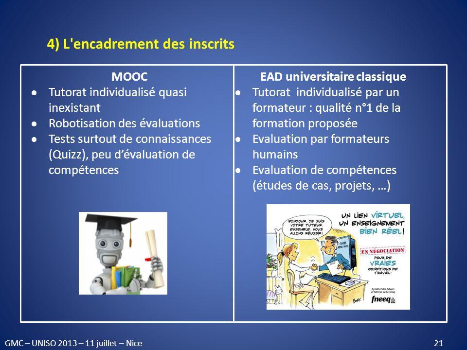 4) L'encadrement des inscrits MOOC Tutorat individualisé quasi inexistant Robotisation des évaluations Tests surtout de connaissances (Quizz), peu dév