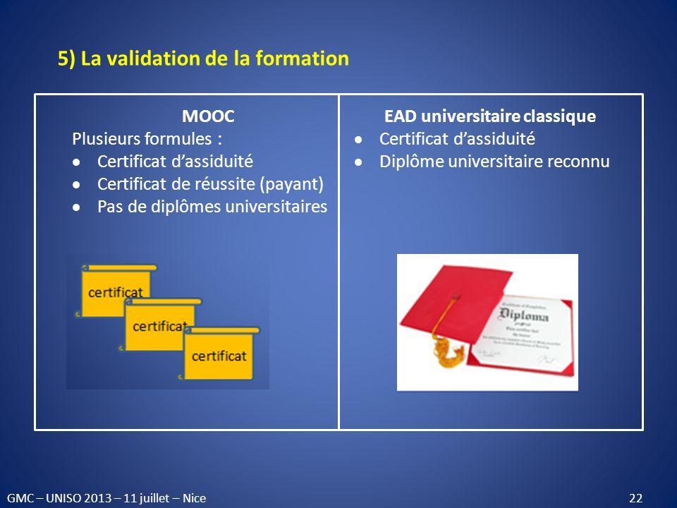 5) La validation de la formation MOOC Plusieurs formules : Certificat dassiduité Certificat de réussite (payant) Pas de diplômes universitaires EAD un