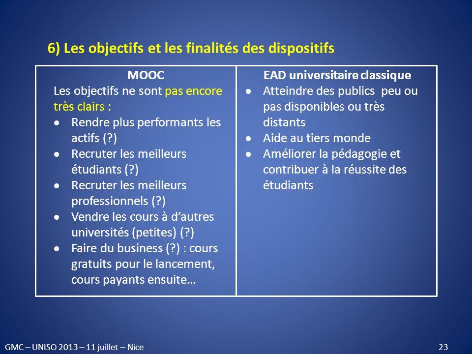 6) Les objectifs et les finalités des dispositifs MOOC Les objectifs ne sont pas encore très clairs : Rendre plus performants les actifs (?) Recruter
