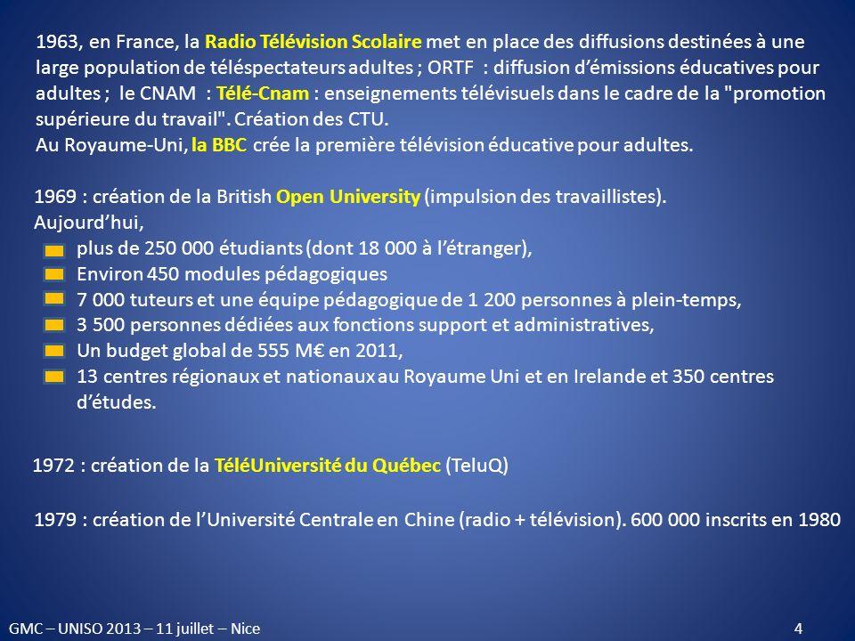 1963, en France, la Radio Télévision Scolaire met en place des diffusions destinées à une large population de téléspectateurs adultes ; ORTF : diffusi