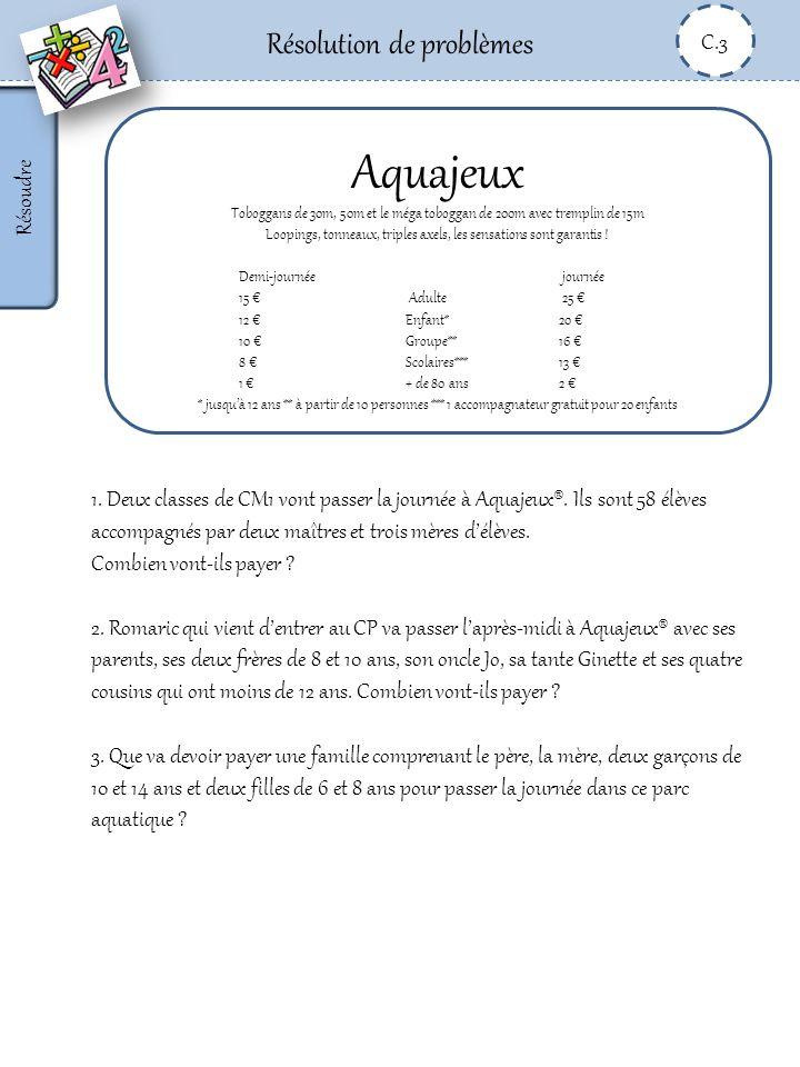 Résolution de problèmes C.3 Résoudre Aquajeux Toboggans de 30m, 50m et le méga toboggan de 200m avec tremplin de 15m Loopings, tonneaux, triples axels