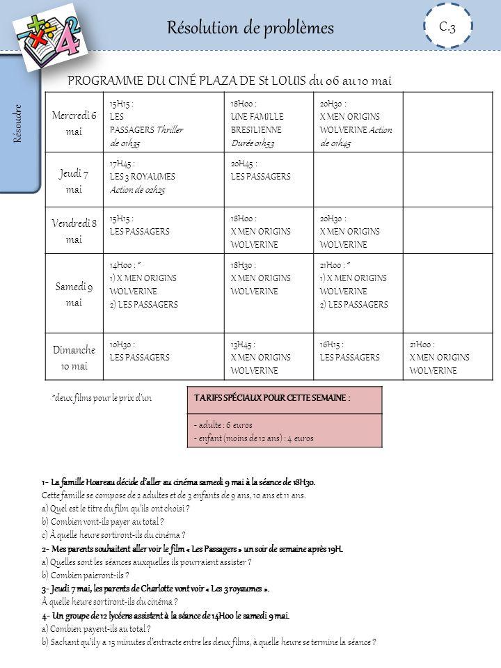 Résolution de problèmes C.3 Résoudre PROGRAMME DU CINÉ PLAZA DE St LOUIS du 06 au 10 mai Mercredi 6 mai 15H15 : LES PASSAGERS Thriller de 01h35 18H00