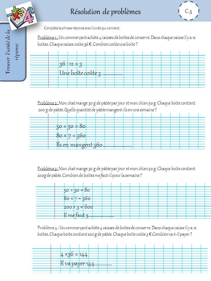 Résolution de problèmes C.3 Résoudre Le bon de commande de livres pour la classe TitresPrix unitaire QuantitéPrix total La presquîle aux oiseaux8 ………………………..…………………….