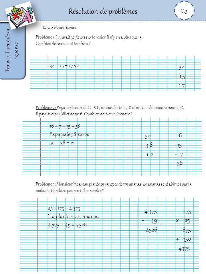 Résolution de problèmes C.3 Compléter un énoncé et écrire une phrase réponse Problème 1 : Dans la basse cour il y a …..