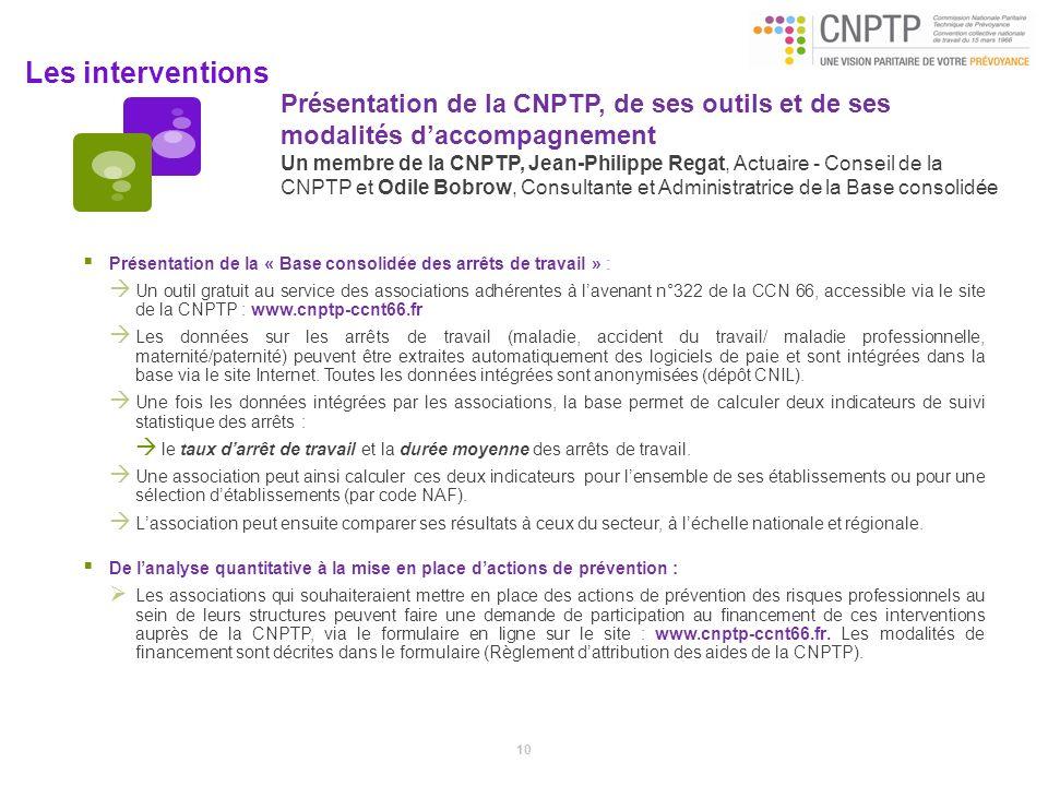 Les interventions Présentation de la CNPTP, de ses outils et de ses modalités daccompagnement Un membre de la CNPTP, Jean-Philippe Regat, Actuaire - C