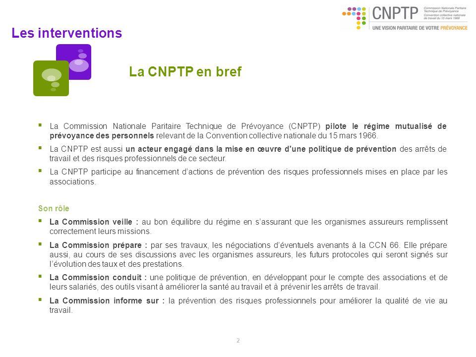 Les interventions La CNPTP en bref La Commission Nationale Paritaire Technique de Prévoyance (CNPTP) pilote le régime mutualisé de prévoyance des pers