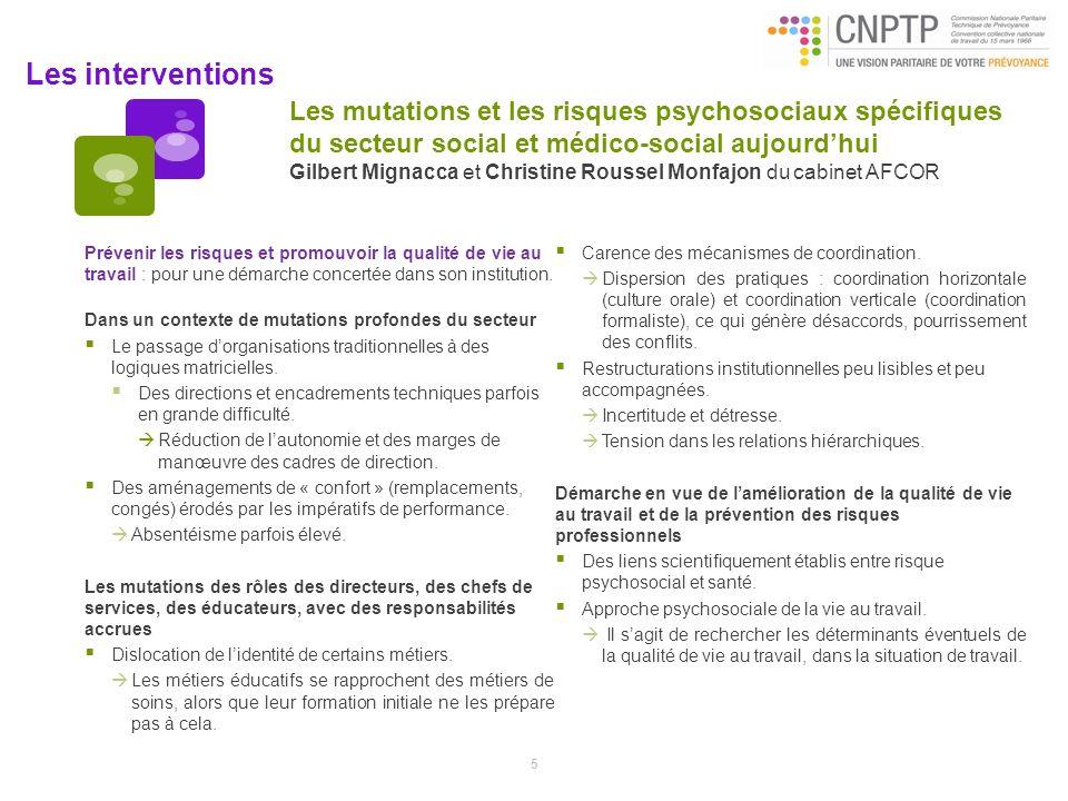Les interventions Les mutations et les risques psychosociaux spécifiques du secteur social et médico-social aujourdhui Gilbert Mignacca et Christine R