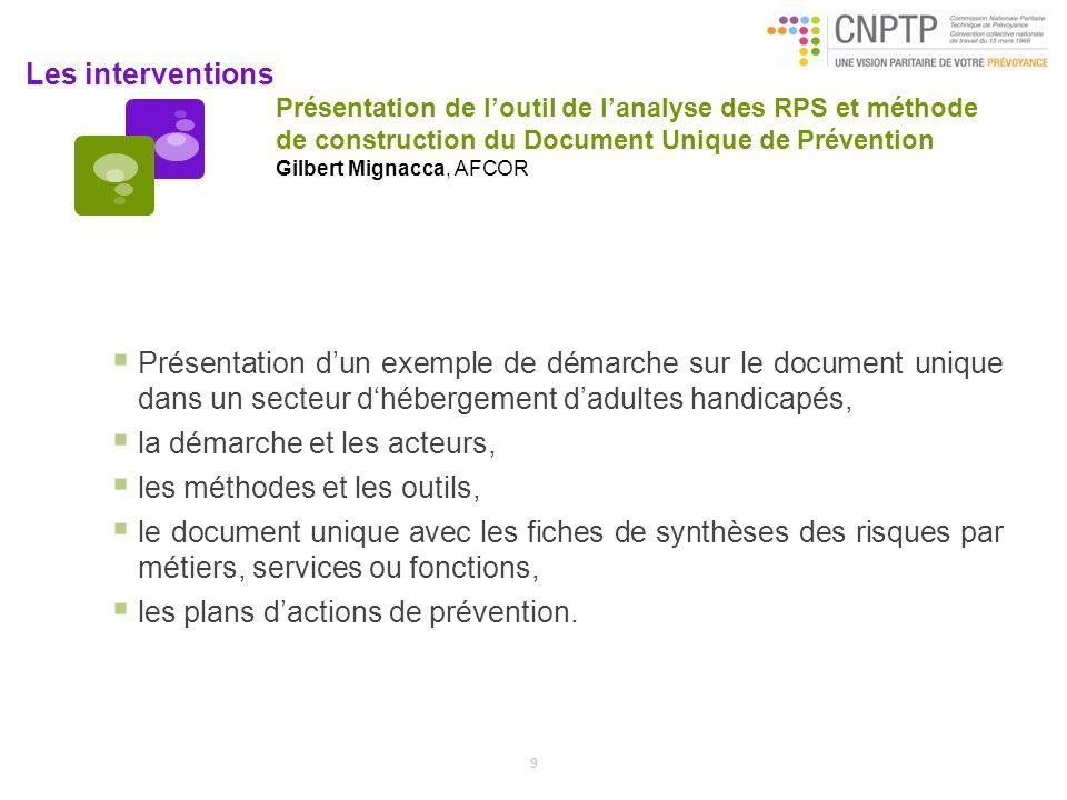 Les interventions Présentation de loutil de lanalyse des RPS et méthode de construction du Document Unique de Prévention Gilbert Mignacca, AFCOR Prése