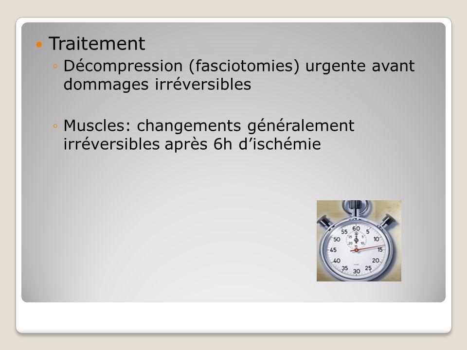Traitement Décompression (fasciotomies) urgente avant dommages irréversibles Muscles: changements généralement irréversibles après 6h dischémie