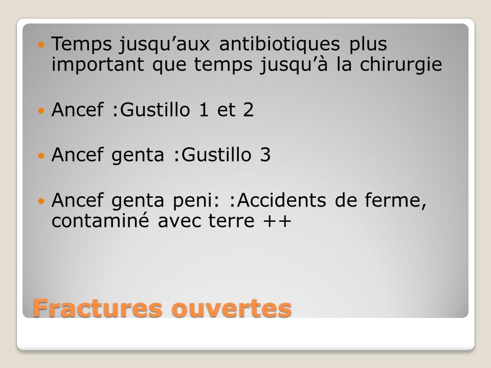 Fractures ouvertes Temps jusquaux antibiotiques plus important que temps jusquà la chirurgie Ancef :Gustillo 1 et 2 Ancef genta :Gustillo 3 Ancef gent