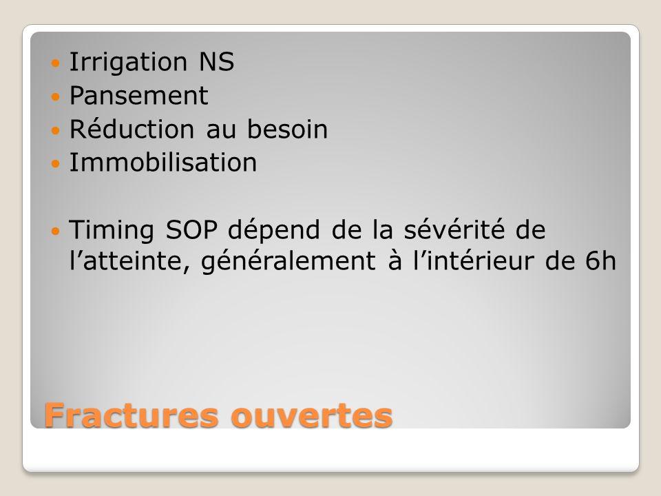 Fractures ouvertes Irrigation NS Pansement Réduction au besoin Immobilisation Timing SOP dépend de la sévérité de latteinte, généralement à lintérieur