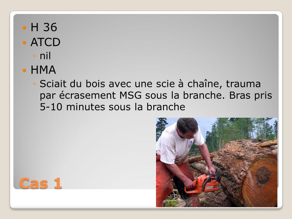 Cas 1 H 36 ATCD nil HMA Sciait du bois avec une scie à chaîne, trauma par écrasement MSG sous la branche. Bras pris 5-10 minutes sous la branche