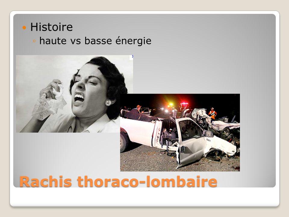 Rachis thoraco-lombaire Histoire haute vs basse énergie