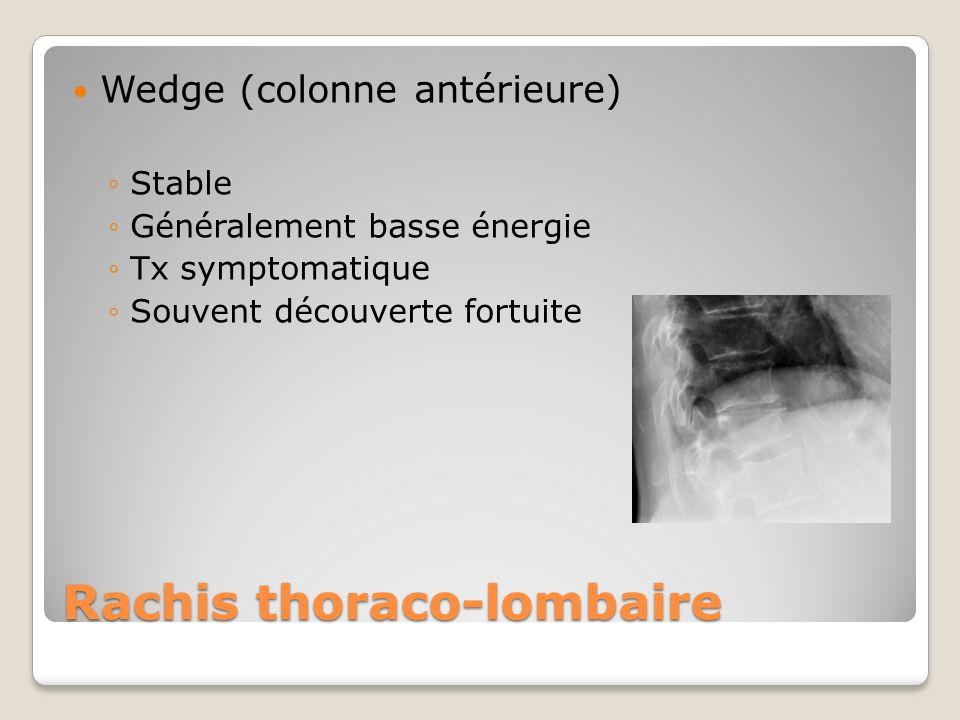 Rachis thoraco-lombaire Wedge (colonne antérieure) Stable Généralement basse énergie Tx symptomatique Souvent découverte fortuite