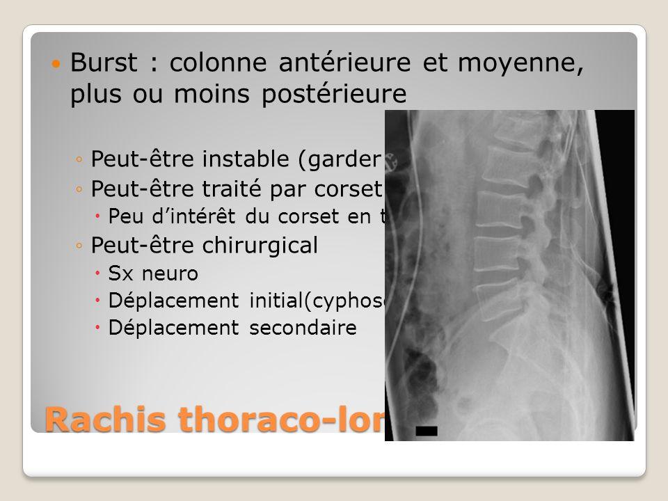 Rachis thoraco-lombaire Burst : colonne antérieure et moyenne, plus ou moins postérieure Peut-être instable (garder bloc) Peut-être traité par corset