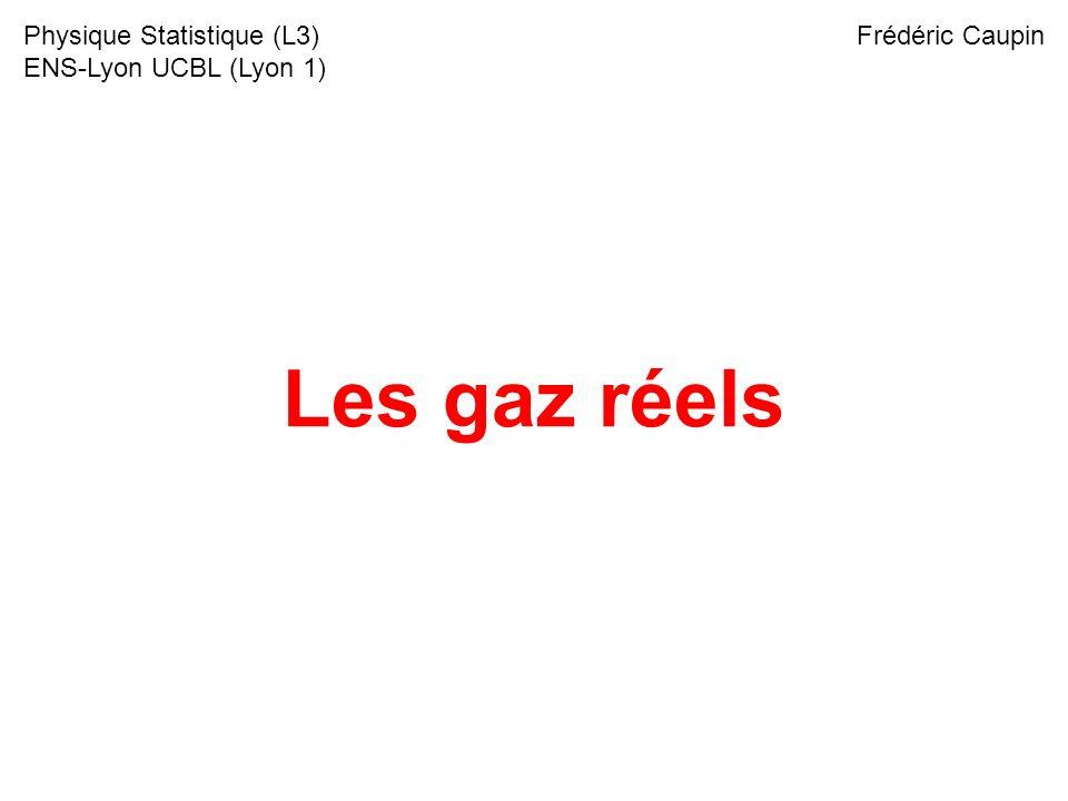 Les gaz réels Physique Statistique (L3) ENS-Lyon UCBL (Lyon 1) Frédéric Caupin