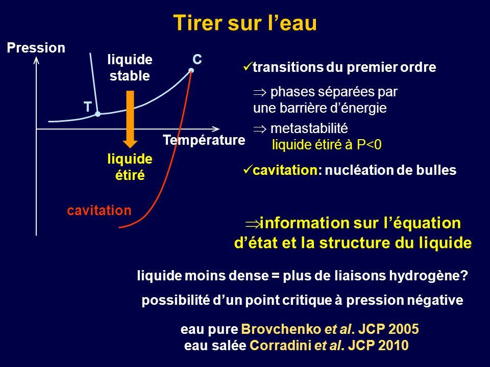 Tirer sur leau information sur léquation détat et la structure du liquide transitions du premier ordre cavitation: nucléation de bulles phases séparée