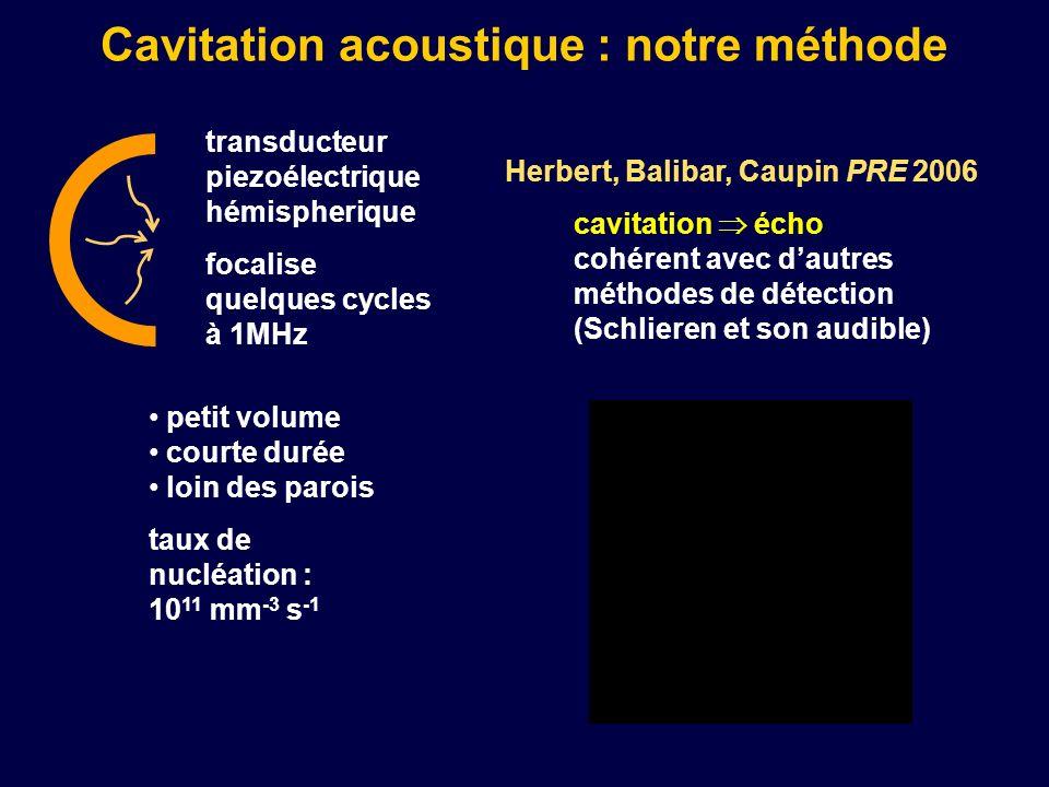 Cavitation acoustique : notre méthode transducteur piezoélectrique hémispherique focalise quelques cycles à 1MHz cavitation écho cohérent avec dautres