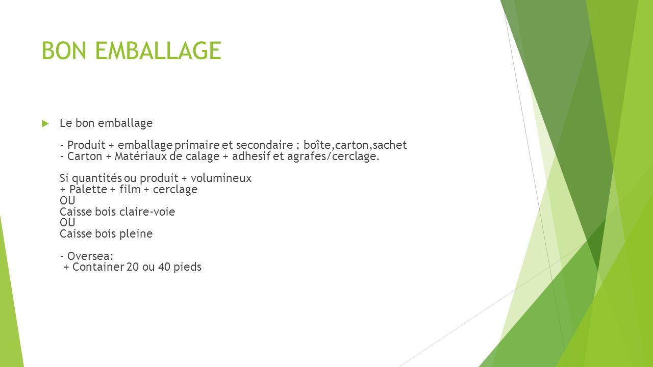 BON EMBALLAGE Le bon emballage - Produit + emballage primaire et secondaire : boîte,carton,sachet - Carton + Matériaux de calage + adhesif et agrafes/