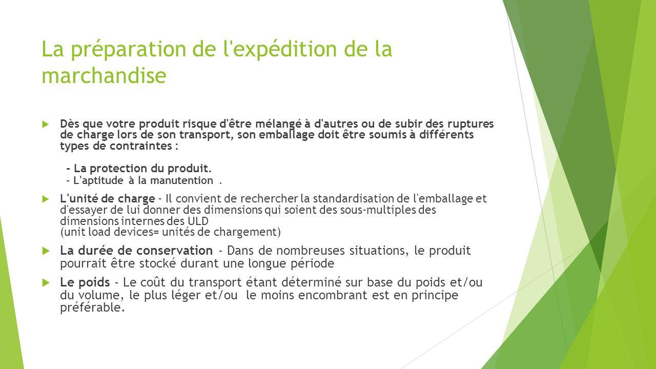 La préparation de l'expédition de la marchandise Dès que votre produit risque d'être mélangé à d'autres ou de subir des ruptures de charge lors de son