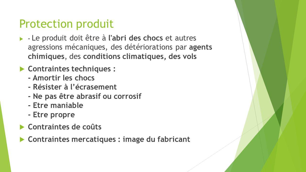 Protection produit - Le produit doit être à l'abri des chocs et autres agressions mécaniques, des détériorations par agents chimiques, des conditions