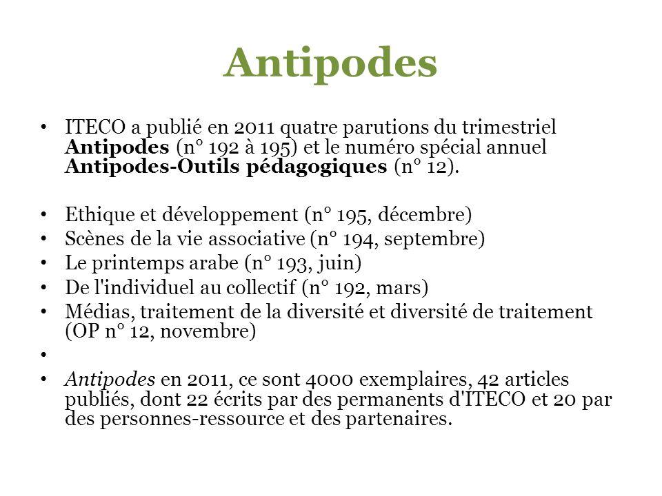 Antipodes ITECO a publié en 2011 quatre parutions du trimestriel Antipodes (n° 192 à 195) et le numéro spécial annuel Antipodes-Outils pédagogiques (n° 12).